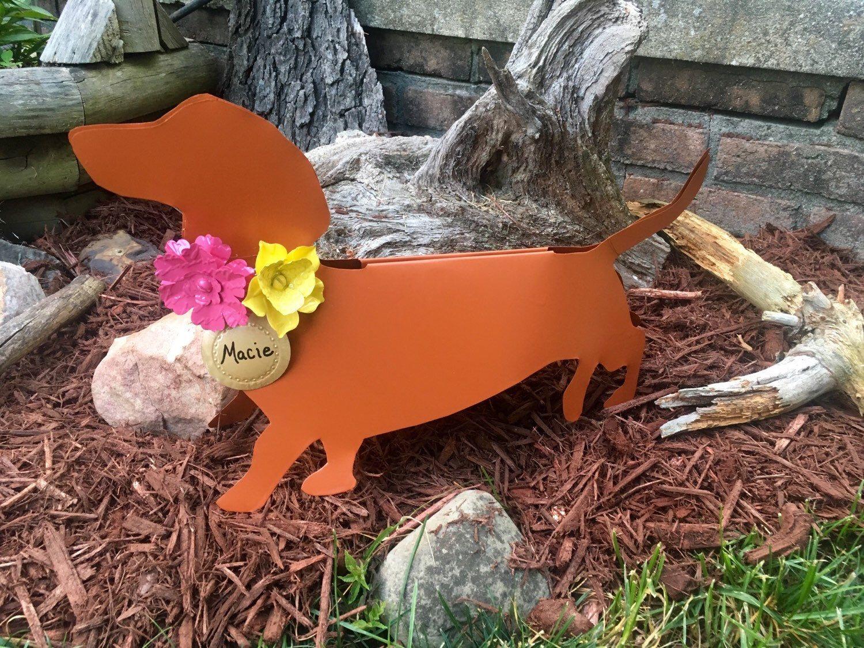 Recycled Aluminum Metal Dachshund Flowers Yard Art Garden Stake, Custom,  Tin, Brown, Black, Grey, Gray