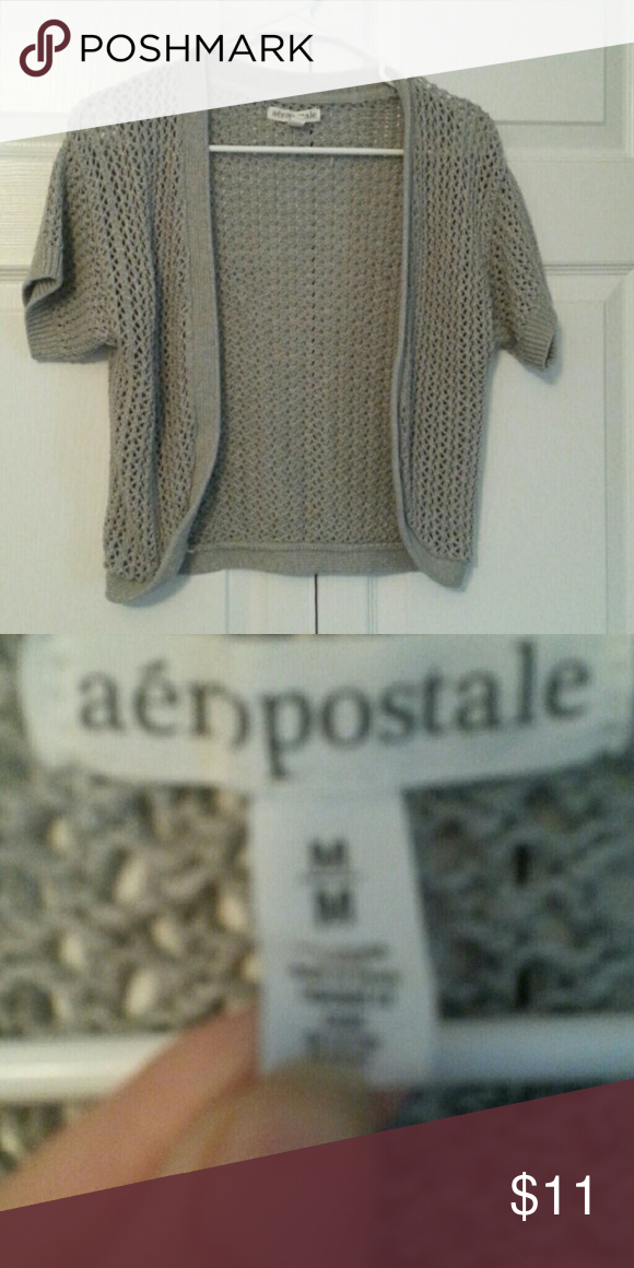Gray short sleeve shrug Aeropostale short sleeve gray shrug.  NWOT Aeropostale Sweaters Shrugs & Ponchos