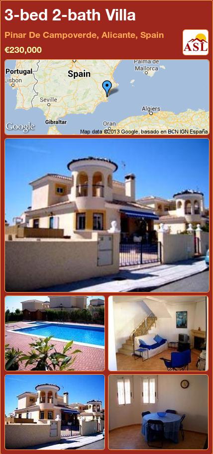 3-bed 2-bath Villa in Pinar De Campoverde, Alicante, Spain ►€230,000 #PropertyForSaleInSpain