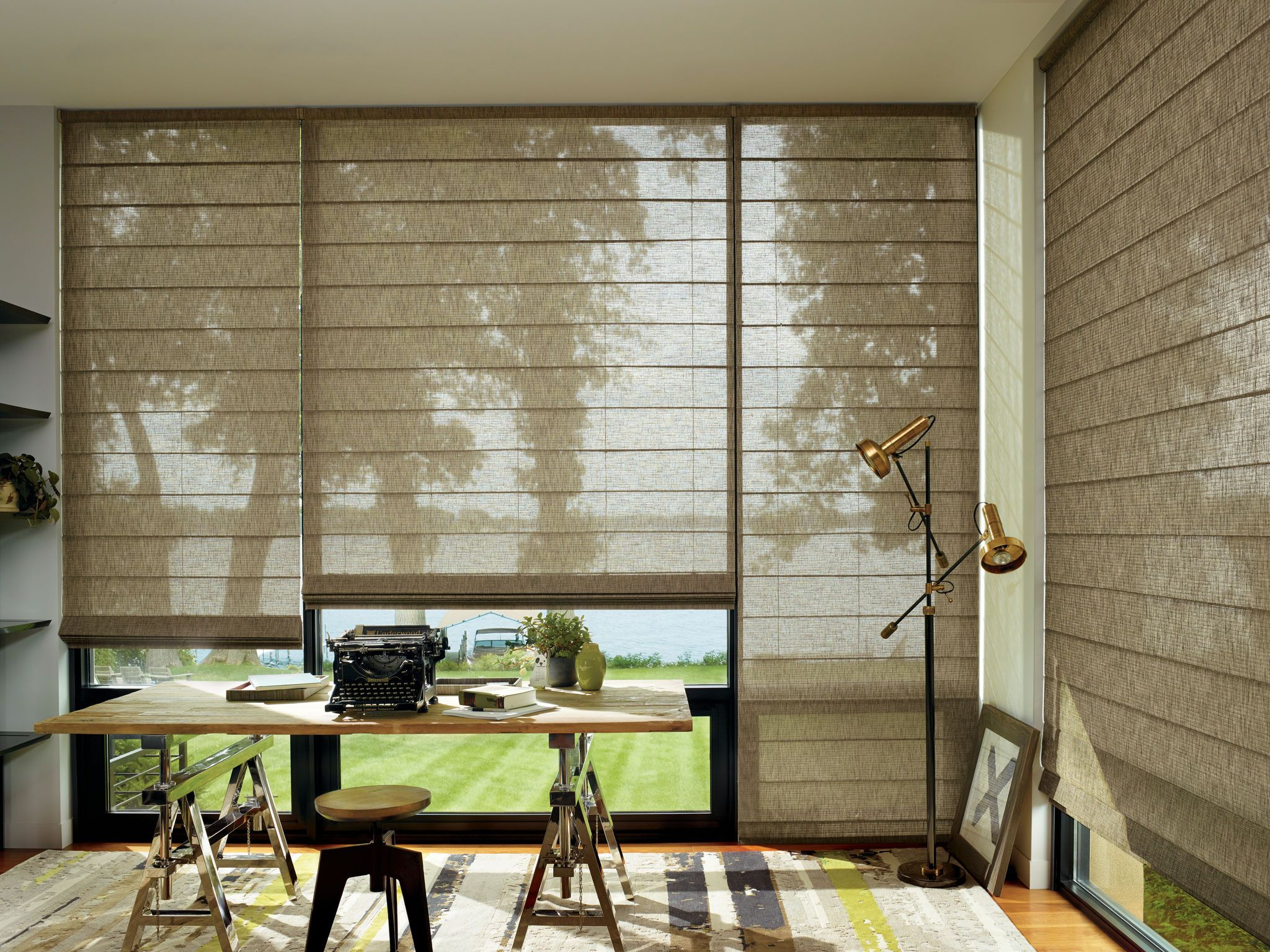 Alustra Woven Textures With Urban Billboard In Home Office Blinds Office Blinds Custom Blinds