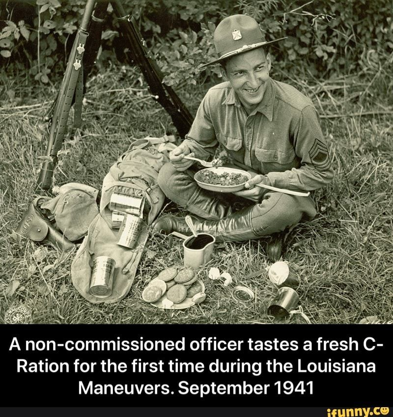 A officer tastes a fresh C Ration for