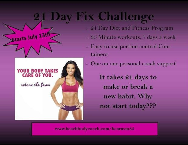 21 days of fitness and nutrition support