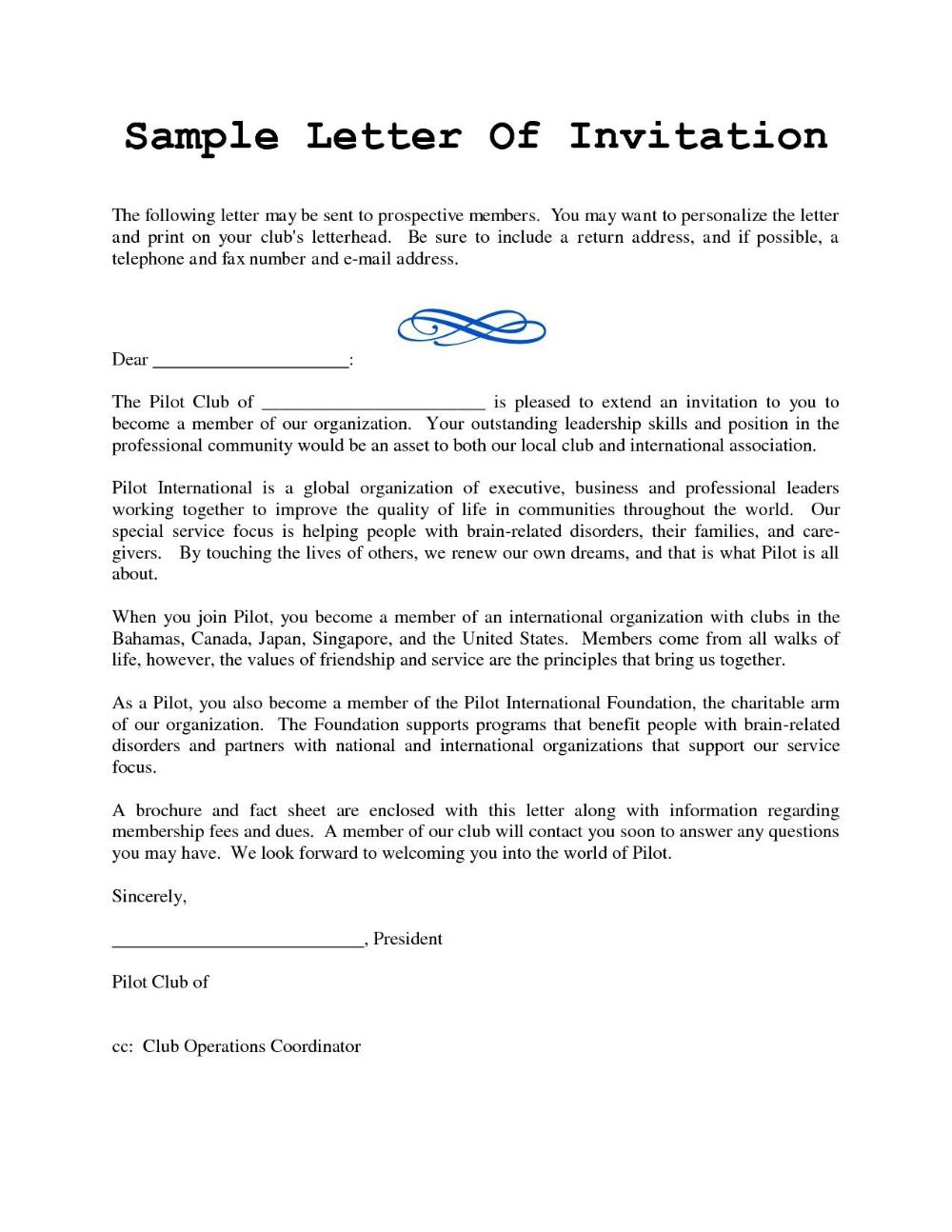 Sample Of Formal Invitation Letter For A Seminar