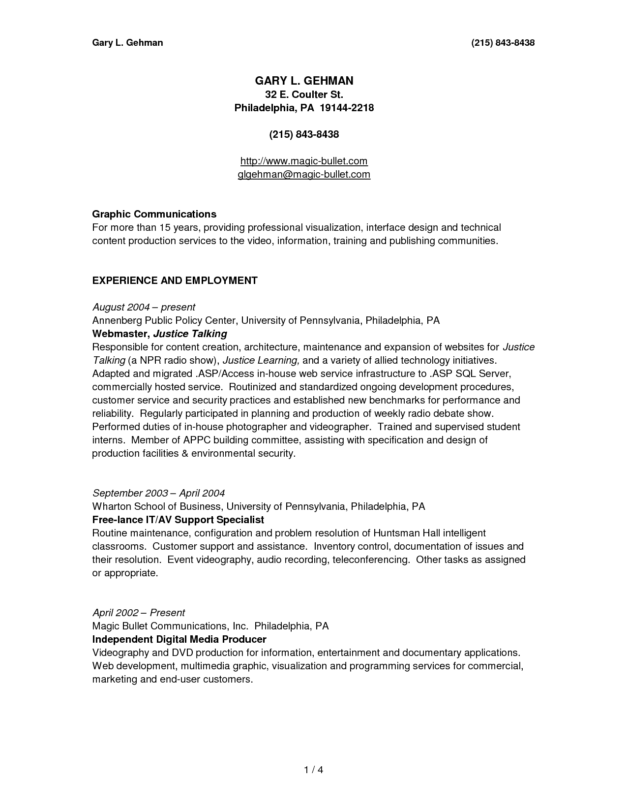 printable example of resumes