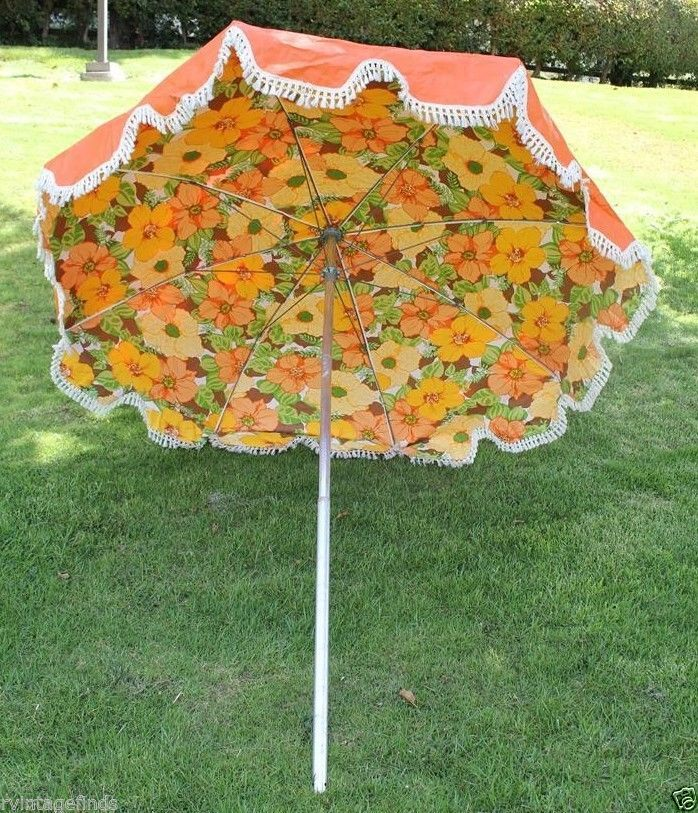 Mid Century Patio Umbrella - Wish my back patio was big enough for this 1960s floral and fringe explosion!