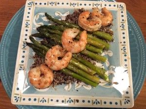 Gingery Roasted Shrimp and Asparagus by Coleen Hayden   We all need a few tried-and-true QUICK suppers for our menu planning; yes?  This Roasted Shrimp and Asparagus is just that!  From starting the oven to preheat to plating this dish takes maybe 30 minutes (or less).  And it fits so well into our healthy but-oh-so-yummy POV.  Low carb, low fat but not low in flavor!  Between the ginger and garlic, the tangy-ness of the soy sauce, and finished off with the smokiness of the sesame oil—