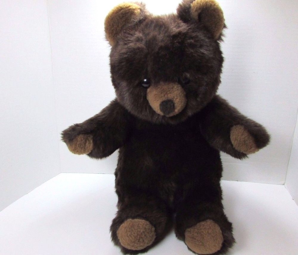"Vintage 14"" Plush Lenci Chocolate Brown Teddy Bear C. 80's Made in Italy #Lenci"