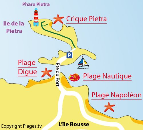 Map of the Pietra Creek in Ile Rousse