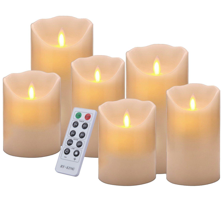 Flameless candles u u u set of realistic pillar dancing flame