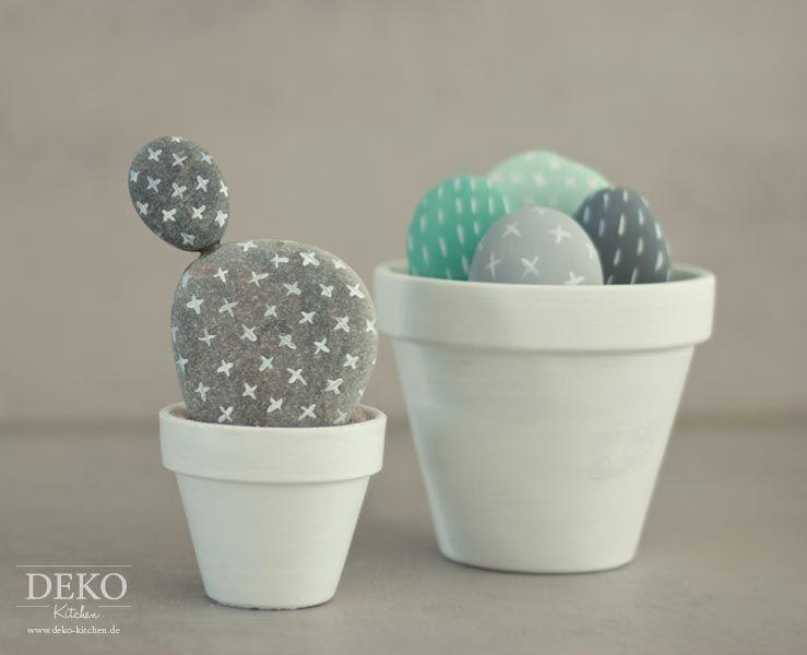 Diy Susse Kakteen Aus Steinen Selber Machen Deko Kitchen Kaktus