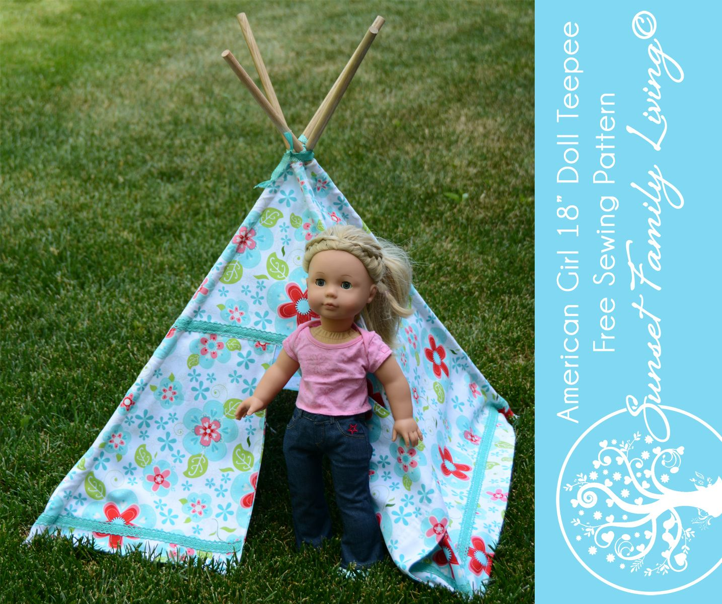 Teepee pattern for American Girl Dolls, Our Generation Dolls, Gotz ...