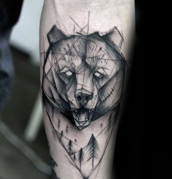 Nature Geometric Bear Mens Inner Forearm Tattoo Tattoosformen Tatuagens De Urso Tattoo Ursos Sketch Tatto