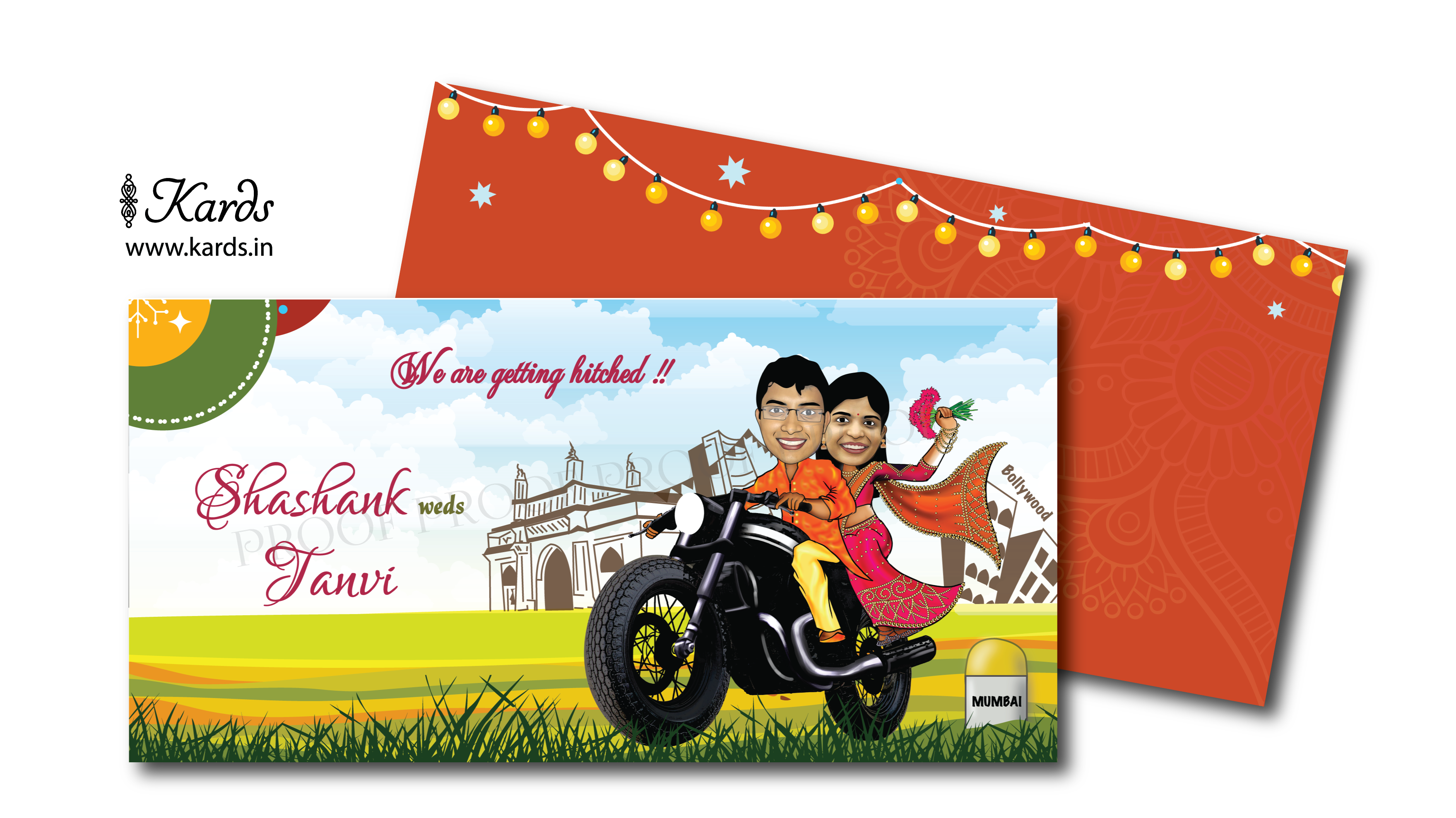 A cute and romatic caricature invitation of a couple enjoying their ...