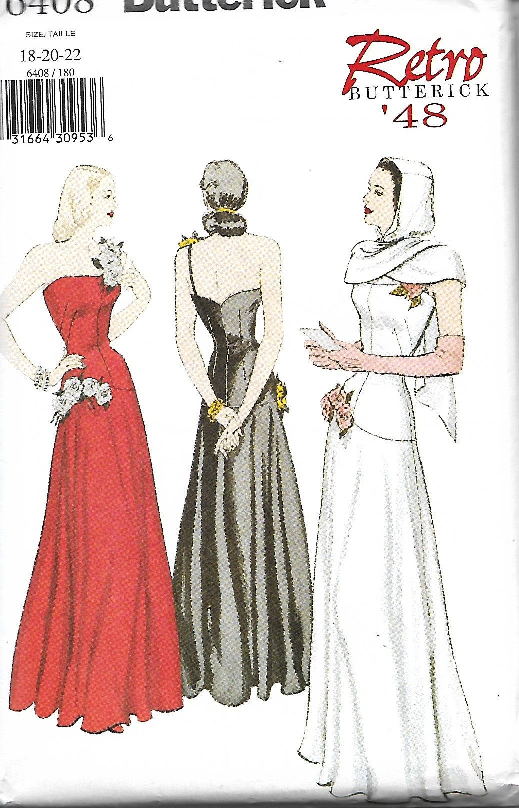 Retro 1948 Butterick 6408 Misses Dress And Hooded Scarf Sewing Etsy Evening Dress Patterns 1940s Evening Dresses Vintage Fashion [ 1617 x 1038 Pixel ]