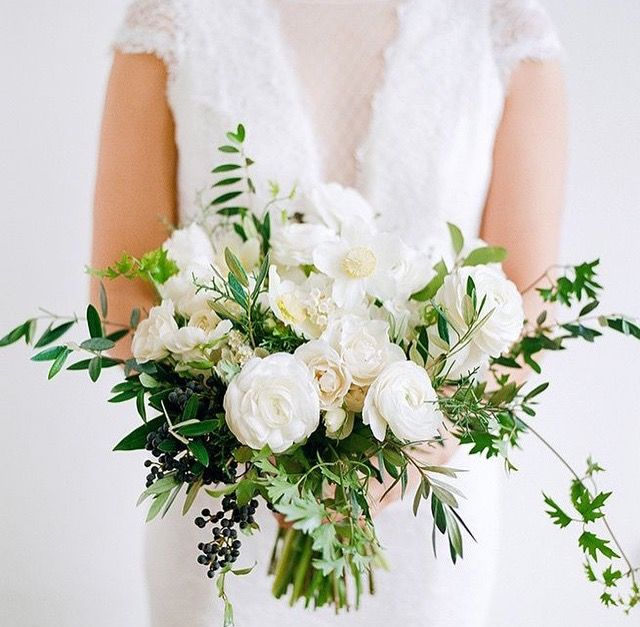 I Like That These Are A Little More Wild No Berries Though White Wedding Flowers Green Wedding Bouquet White Wedding Bouquets
