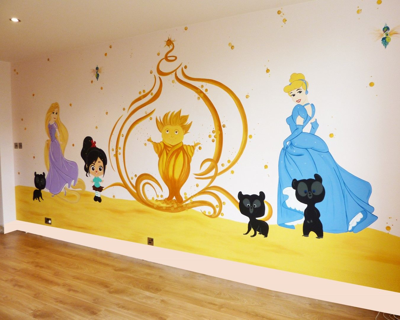 Disney Cinderella and Rapunzel Mural   Disney Princess Murals ...