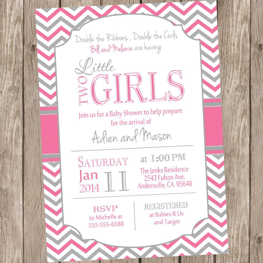 Twin Girls Baby Shower Invitation, Pink and Gray, Chevron Baby ...