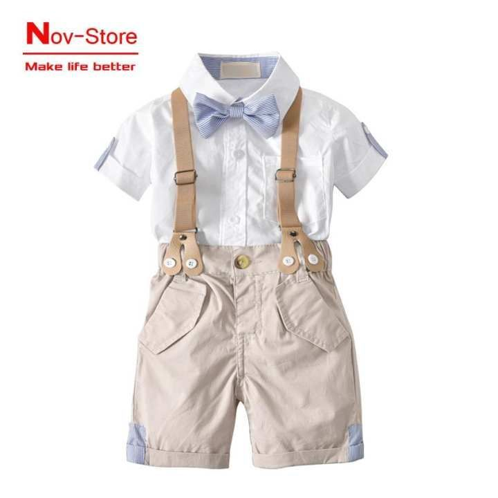 CADIAL Toddler Baby Boys Summer Outfits Button-Down Short Sleeve Shirt Tops Solid Shorts Pants Clothes Set