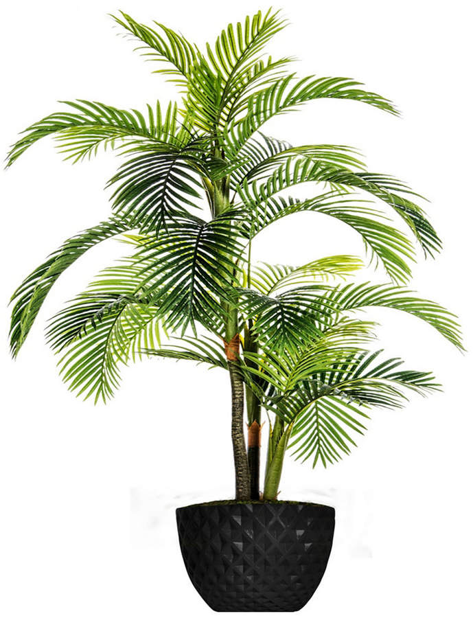 Laura Ashley 89 6 Tall Palm Tree Artificial Indoor Outdoor Lifelike Faux In 13 6 Black Honeycomb Fiberstone Plan Potted Trees Potted Palm Trees Potted Palms