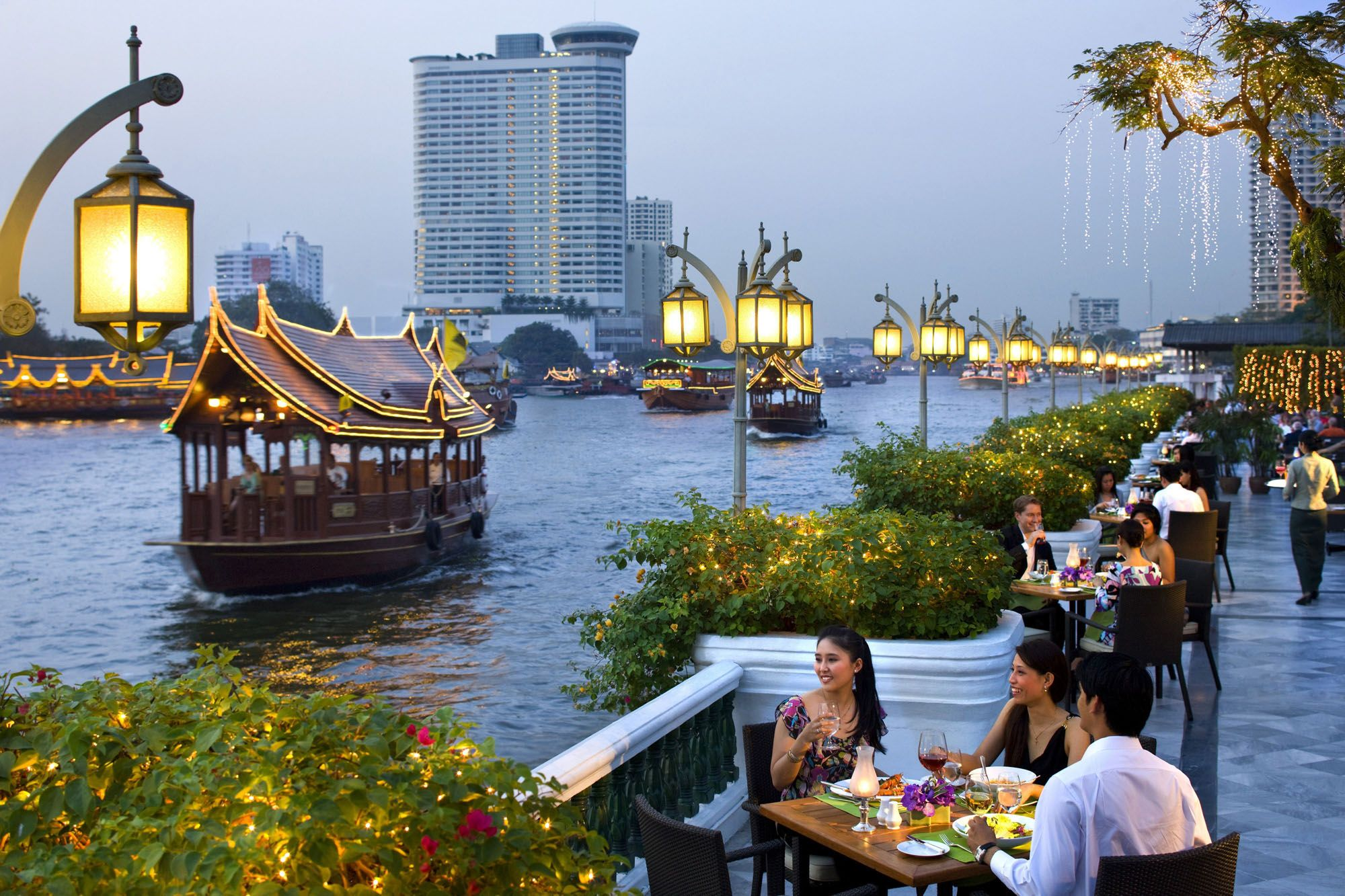 Riverside Terrace At The Mandarin Oriental Bangkok Thailand Delicious Breakfasts By The Bustling Rive Cool Places To Visit Thailand Honeymoon Thailand Tours