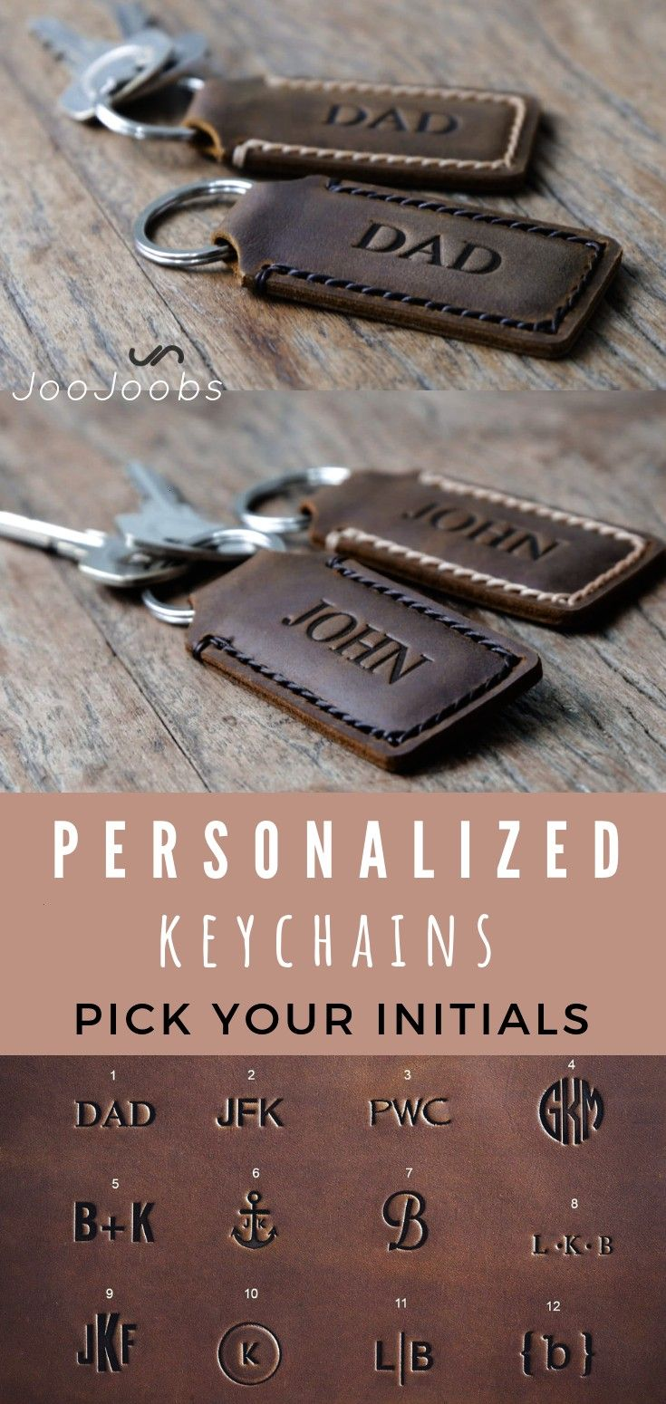 Personalized Custom Leather Keychains SET of 2 Leather Keychain Fobs His and Hers Stocki 2 Personalized Custom Leather Keychains SET of 2 Leather Keychain Fobs His and He...