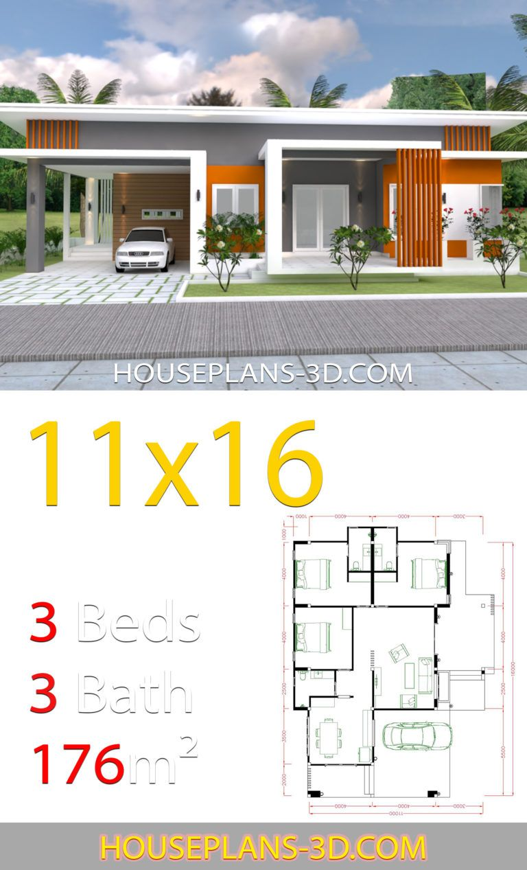 Home Design 11x16 With 3 Bedrooms Slop Roof House Plans 3d Small House Design Plans Bungalow House Plans House Plans