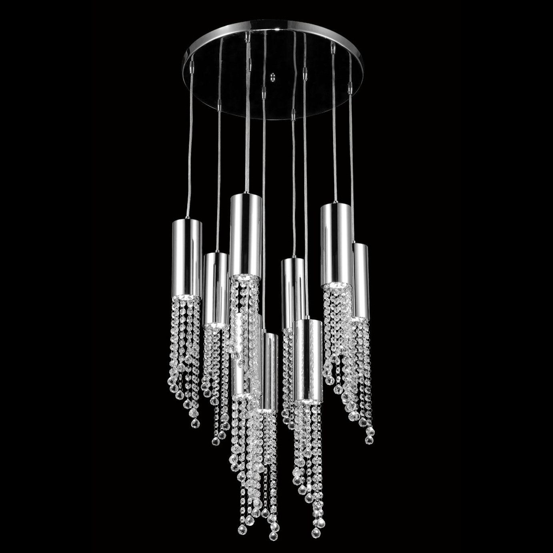 "Elegant Lighting 2057D9R/RC Niagara Collection Pendant Lamp D:21"" H:21.5"" Chrome Finish (Royal Cut Crystals)"