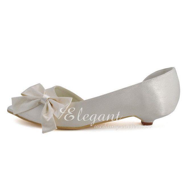 Peep Toe Bow 1inch Cone Heel Satin Plus Size 12. Flat Wedding ShoesWhite ...