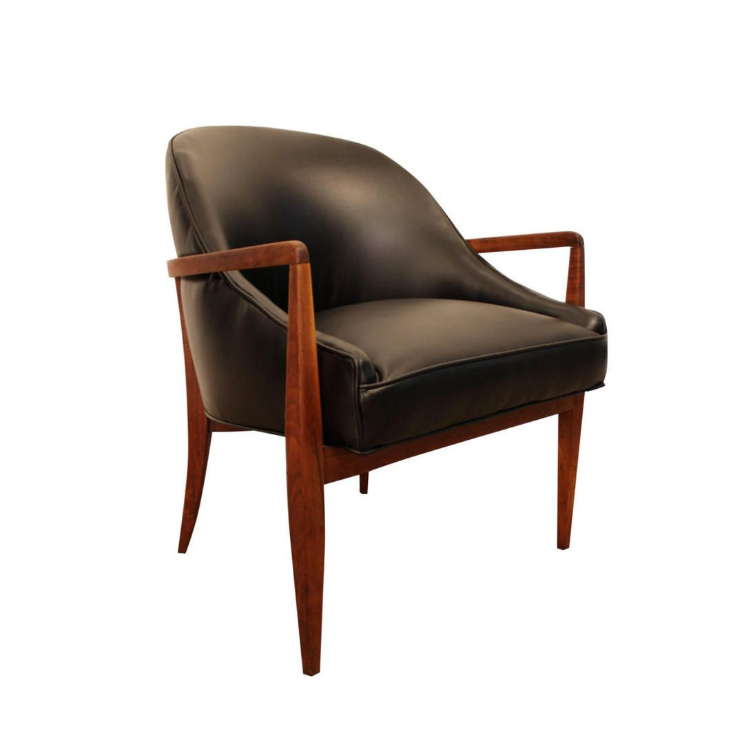 Awe Inspiring Mid Century Modern Arm Chair Curved Back Walnut Leather Open Ncnpc Chair Design For Home Ncnpcorg