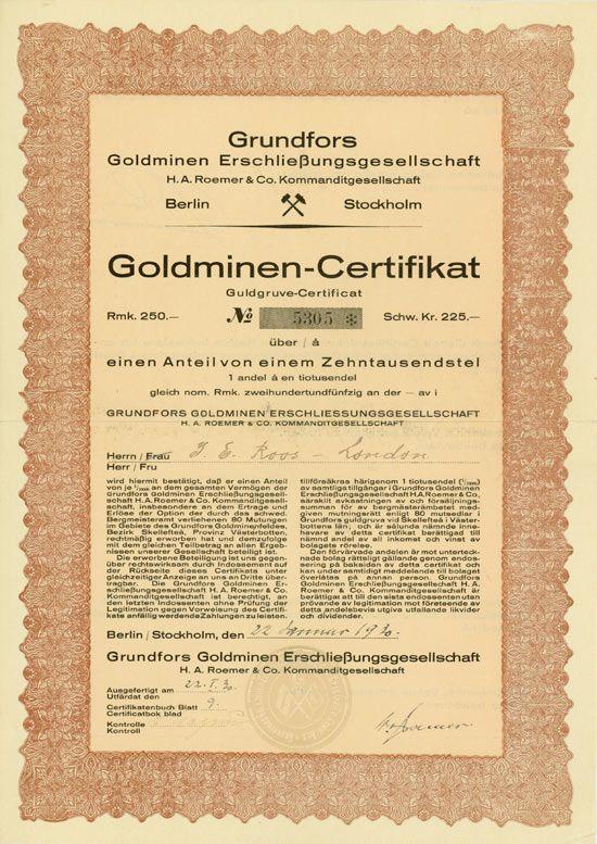 Grundfors Goldminen Erschliessungsgesellschaft H A Roemer Co Kg Berlin Stockholm 22 01 1930 Goldminen Certificate Uber Retro Vector Vector Design Bond