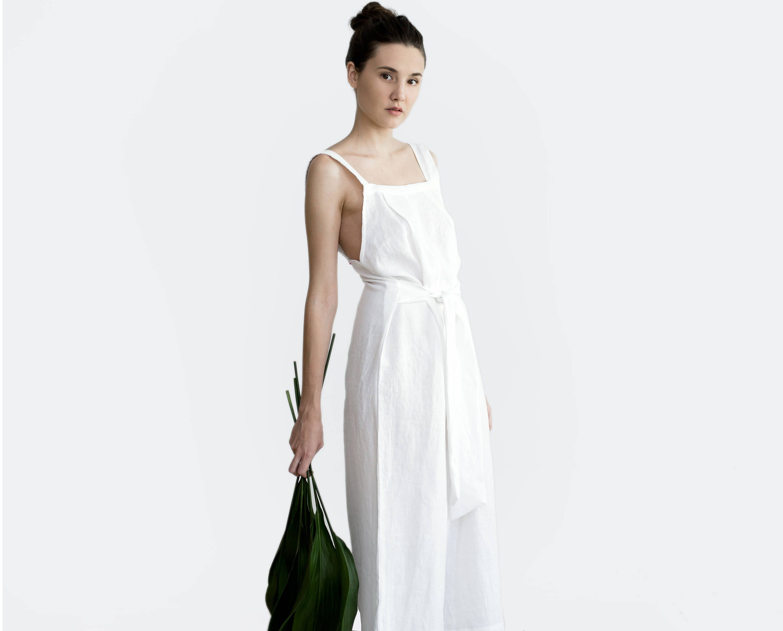 Linen Jumpsuit Overall Loose Fit Bridal Casual Wedding Dress Clothing: Linen Line Wedding Dress At Websimilar.org
