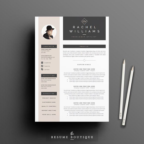 Cool Resume Templates Resume Template 4 Page Pack  Sultrytheresumeboutique On