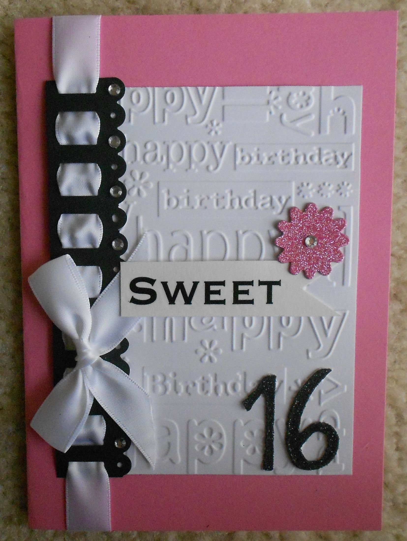 Handmade Sweet 16 Birthday Card