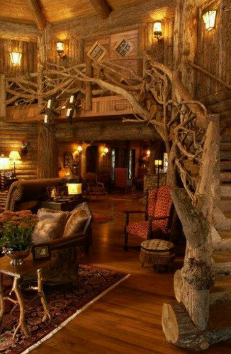 Awesome entwined branches staircase!                                                                                                                                                      More