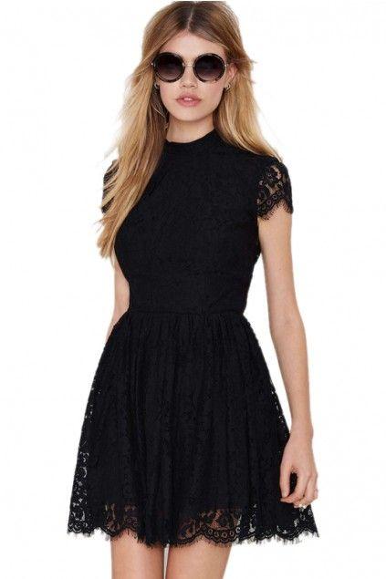 02c847945e9 LUCLUC Black Short Sleeve Short Lace Skater Dress