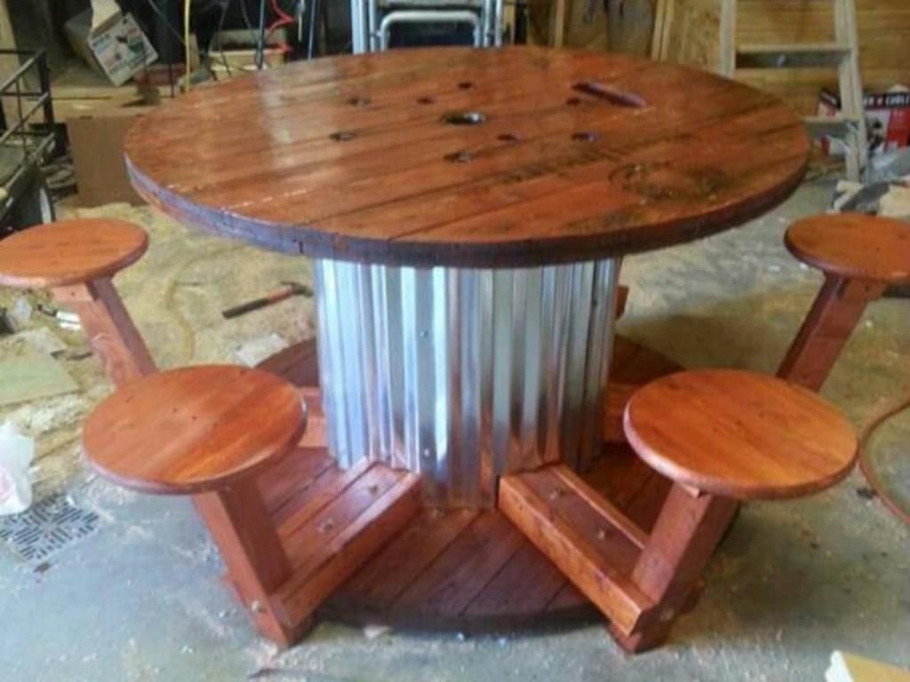 Made From A Wire Spool Turjardineria Great I Do Not Have Plans For This Just Came Up With It Wooden Spool Tables Spool Furniture Spool Tables