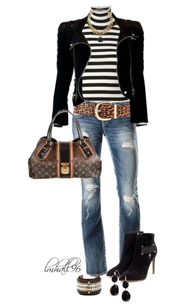 """""""Stripes and Animal Print 2"""" by lmhall96 ❤ liked on Polyvore featuring Gucci, Silver Jeans Co., Steve Madden, Balmain, Louis Vuitton, Rupert Sanderson, BCBGMAXAZRIA, Vince Camuto, BaubleBar and stripes"""