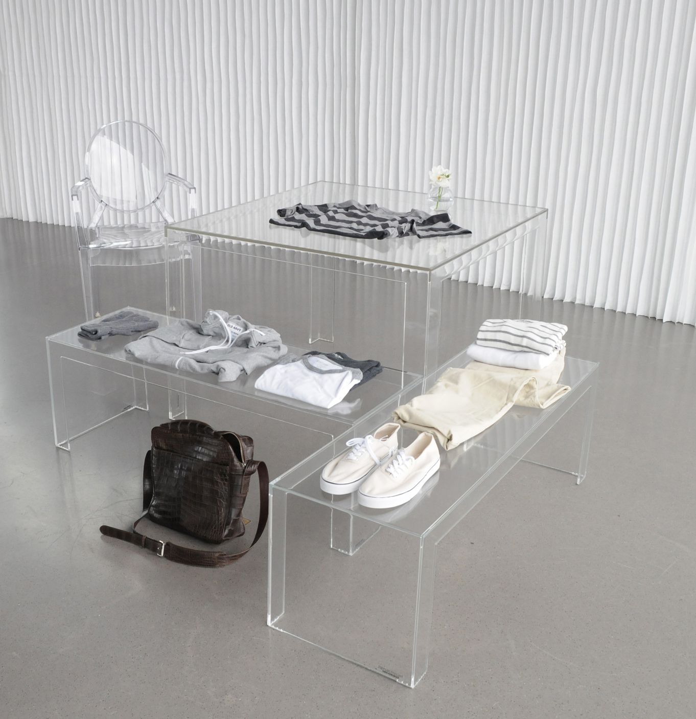 invisible light table, invisible coffee table, tyler chair and