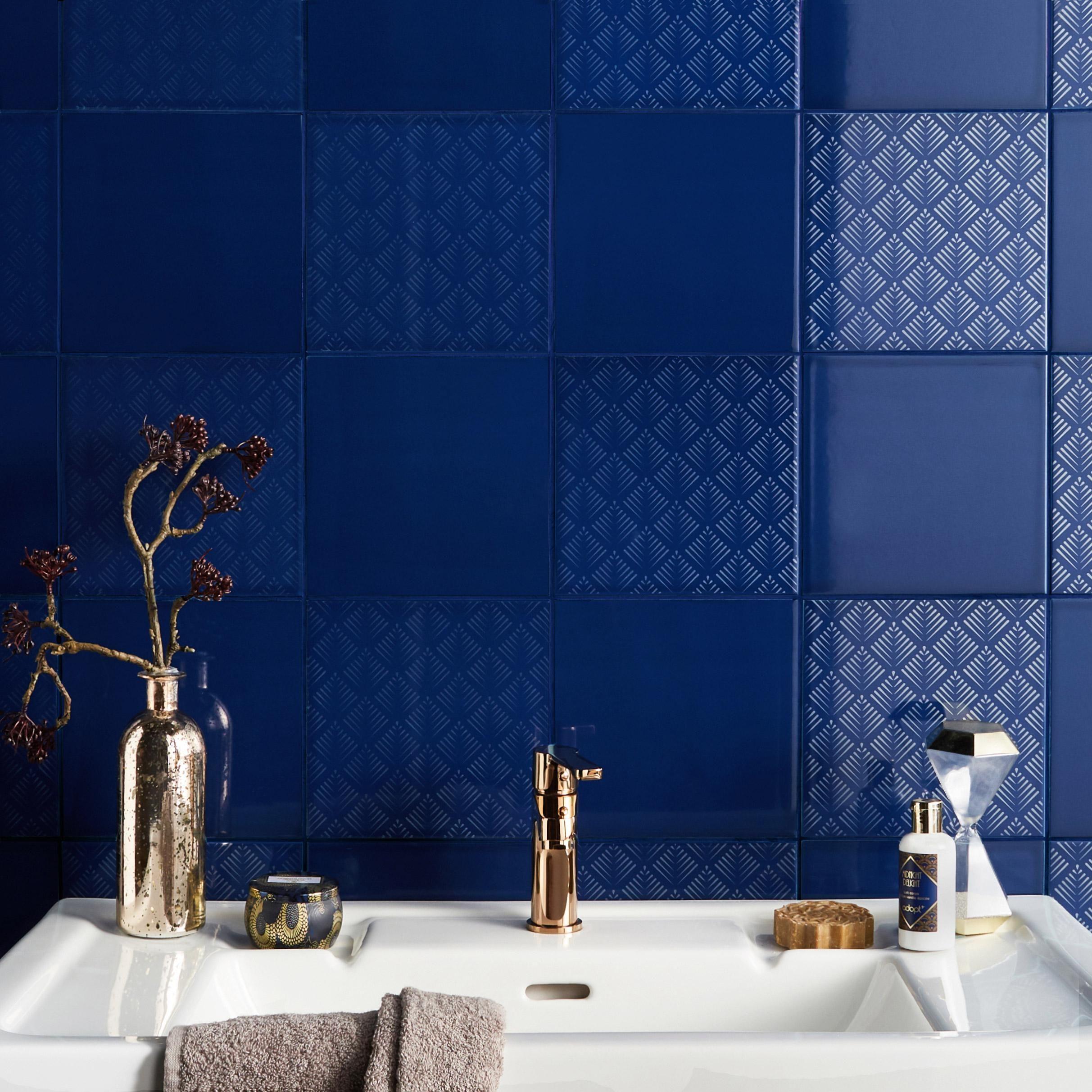 Decor Mur Forte Bleu Nuit Brillant L 19 7 X L 19 7 Cm Astuce
