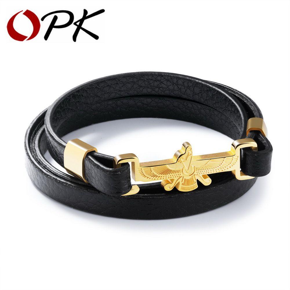 Opk fashion leather wrap bracelets for men eagle u human design