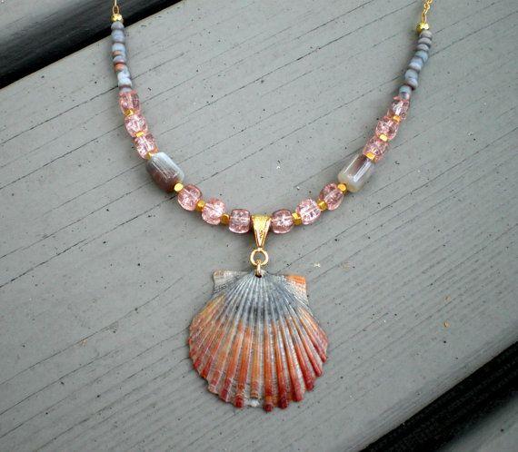 Pink grey gold sea scallop shell pendant necklace by phoebemoll pink grey gold sea scallop shell pendant necklace by phoebemoll 3000 aloadofball Gallery