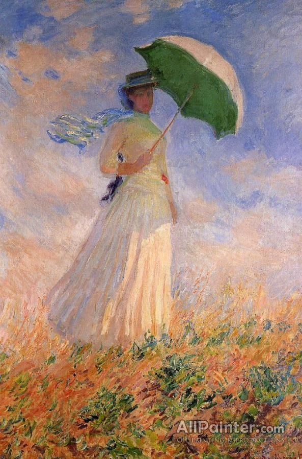 Claude Monet Woman With A Parasol Facing Right Oil Painting Reproductions For Sale Claude Monet Art Monet Art Claude Monet Paintings