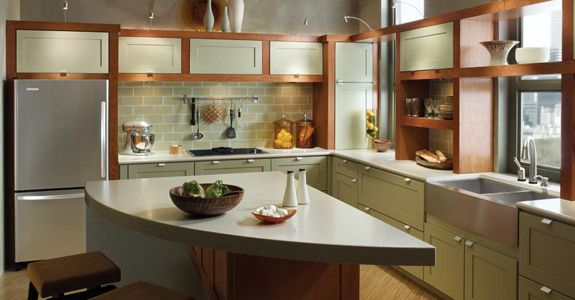 Kraftmaid Durham Maple In Willow And Cherry In Cinnamon I Like The Green Cabinets Paired With The Glass Cabinet Doors To Displa Small Space Kitchen Kitchen Remodel Kitchen Design