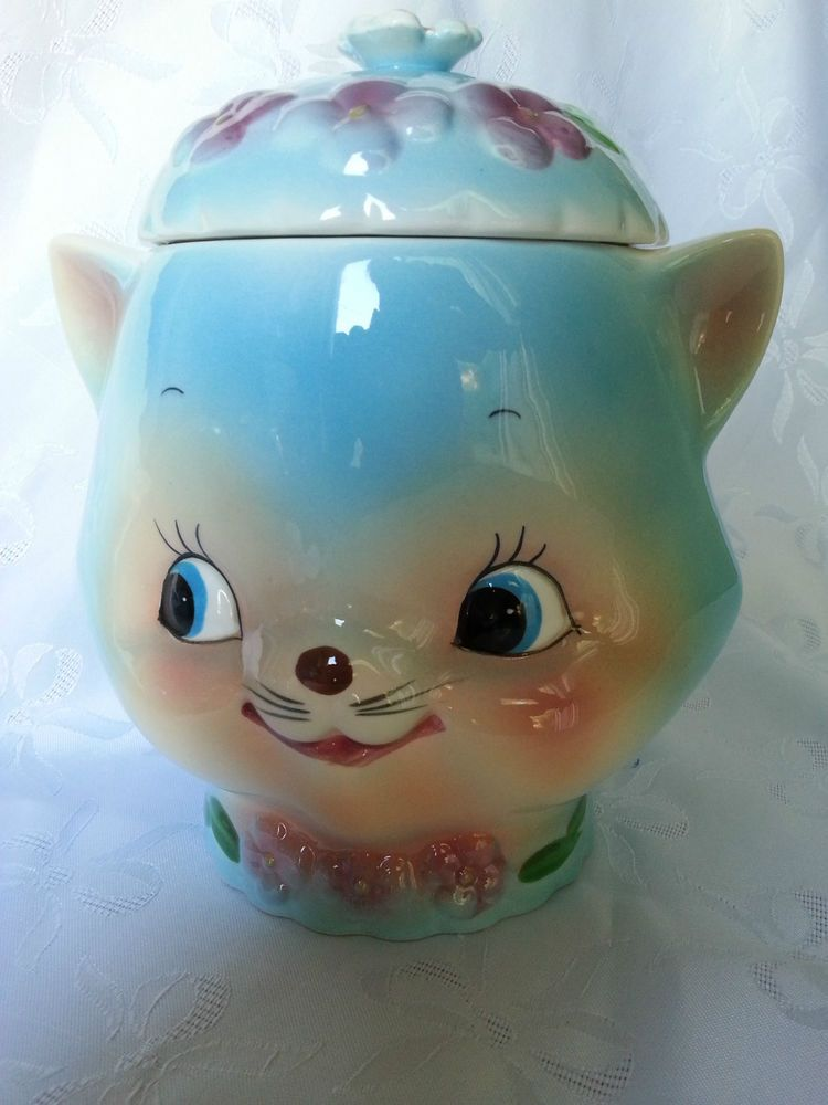 1950'S Cookie Jars Fascinating Vtg RARE Lefton Blue Siamese Cat Chase Cookie Jar Kitty Canister