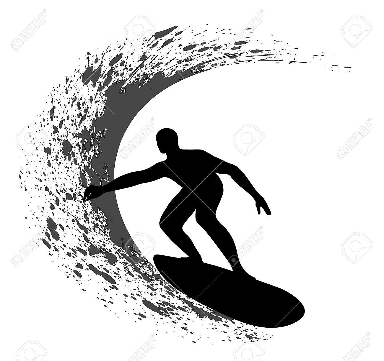 Surfing Silhouette Surfer Surfing Silhouette