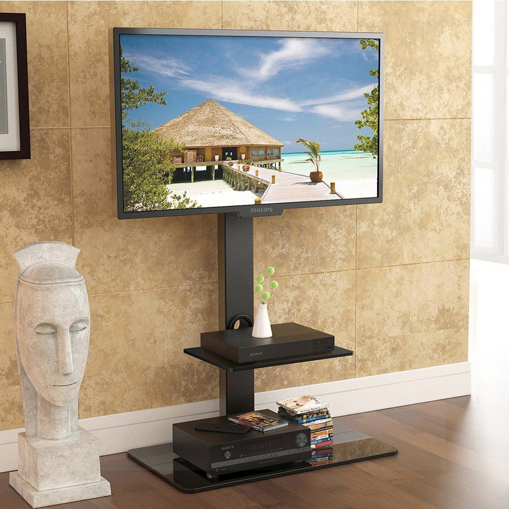 Fitueyes Universal Cantilever Glass TV Stand with: Amazon.co.uk ...