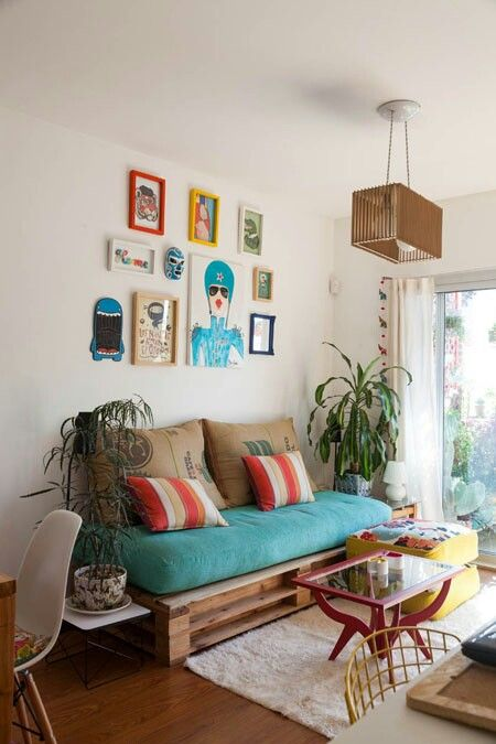 Love the gallery wall, light fixture and colour scheme! Living