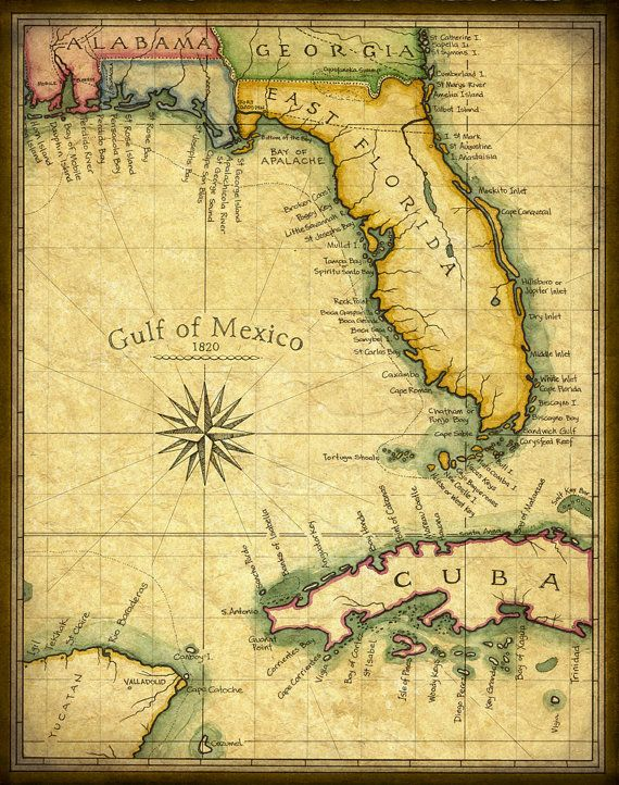 Vintage Florida Map.Florida Map Art Print C 1820 By Geographicsart On Etsy 27 00