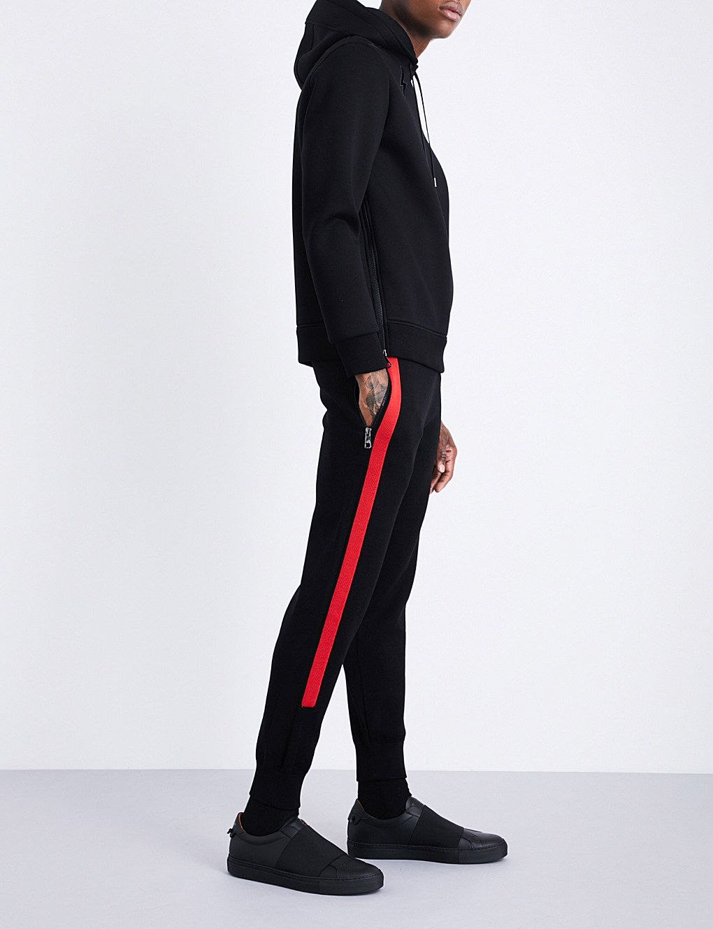 NEIL BARRETT Contrast-stripe waffle-knit low-rise wool jogging bottoms