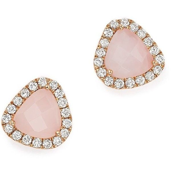 Meira T 14K Rose Gold Pink Opal and Diamond Stud Earrings ($880) ❤ liked on Polyvore featuring jewelry, earrings, diamond jewelry, rose gold stud earrings, rose gold earrings, opal earrings and 14k rose gold earrings